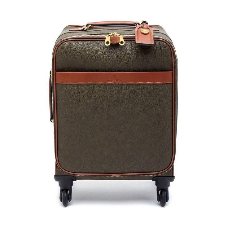Four Wheel Trolley in Mole Scotchgrain with Cognac Trim | Travel Edit | Mulberry