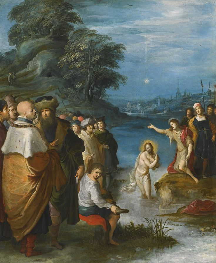 Frans Francken the Younger ANTWERP 1581 - 1642 THE BAPTISM OF CHRIST oil on copper 35 by 28.5 cm.; 13 3/4  by 11 1/4  in.: