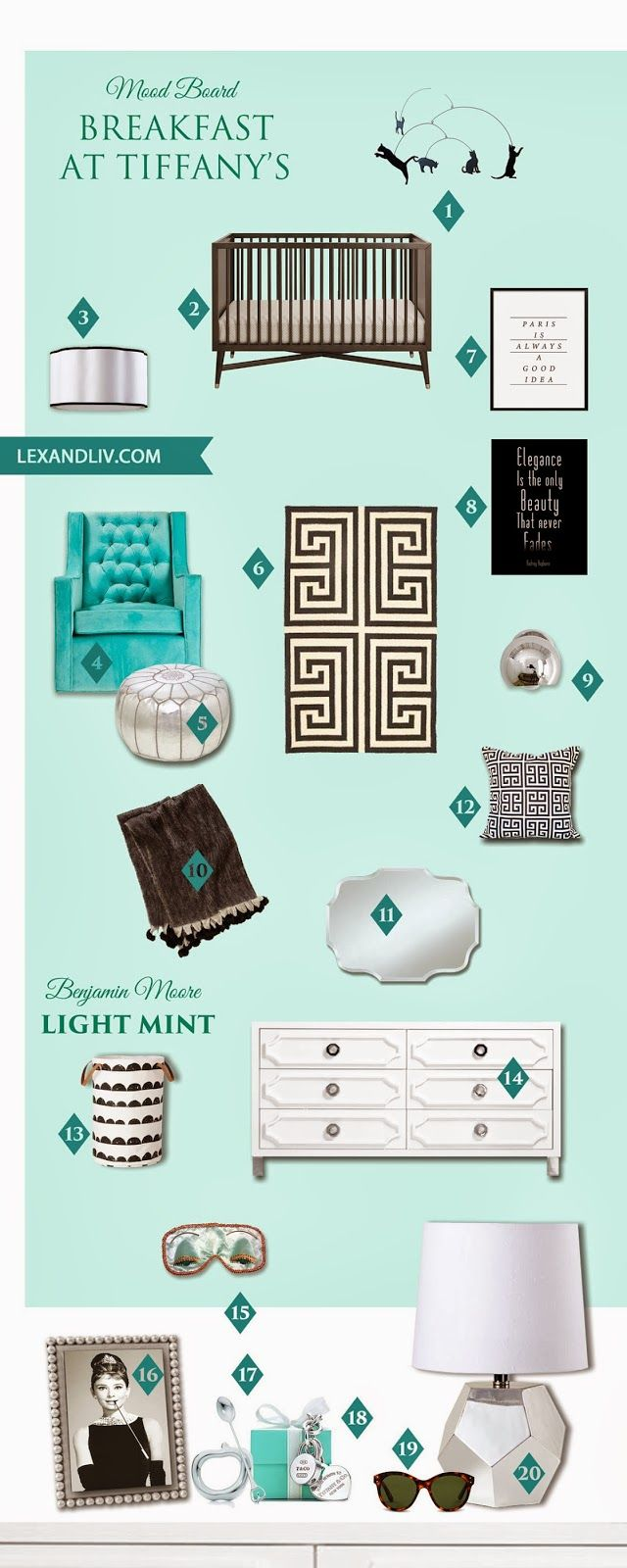 Breakfast at Tiffany's glam nursery. Tiffany blue, black & white. I would do lucite crib instead :)