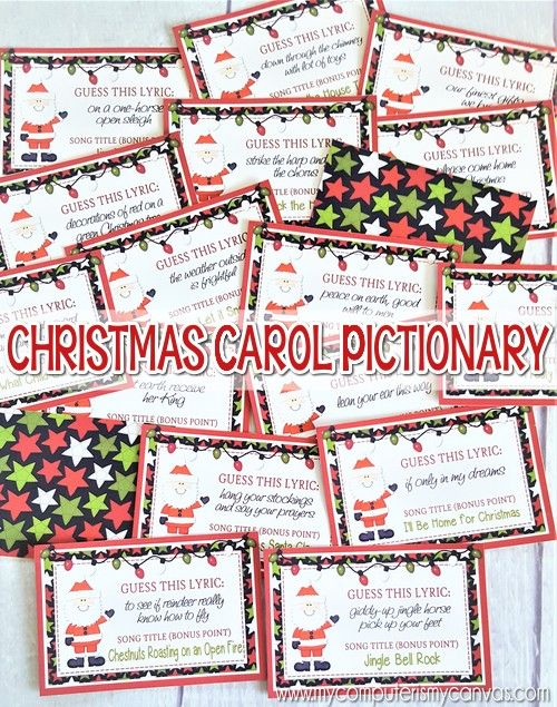 PRINTABLE Christmas Carol Pictionary Game!! Super fun Christmas Party Game, include in Christmas Care Package and great Stocking Stuffer Idea! #mycomputerismycanvas