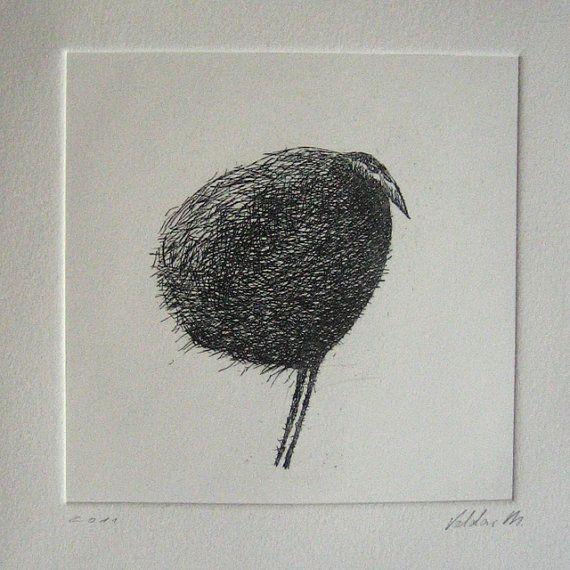 """bird"" etching, by Valdas, Vilnius, Lithuania"