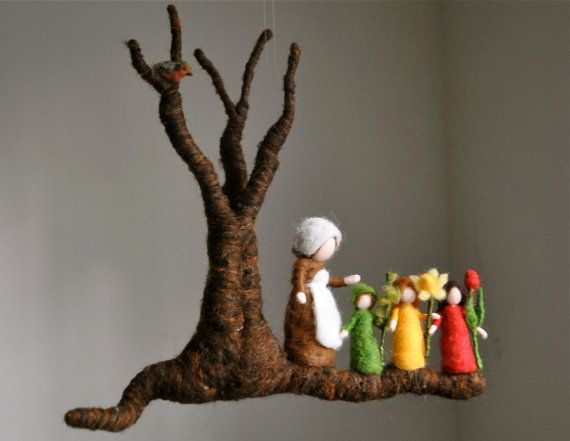 The Root Children. Waldorf inspired needle felted mobile: Mother Earth by MagicWool