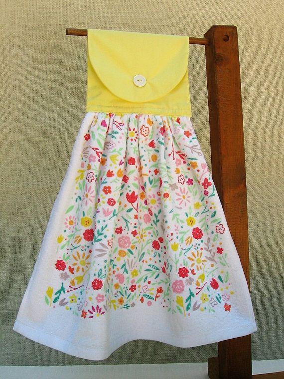 Bright Flower Hanging Kitchen Towel / Yellow Kitchen Decor ...