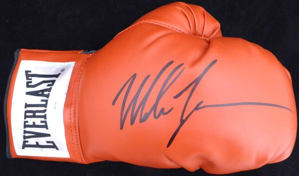 Mike Tyson Autographed Red Everlast Boxing Glove RH Signed In Black TriStar