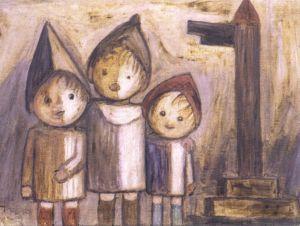 Tadeusz Makowski - Children below the signpost