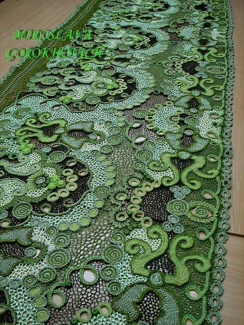 This is what I want to do for our dining table.  Same colors too!  Ukranina freeform crochet designer. Miroslava Gorokhovich.