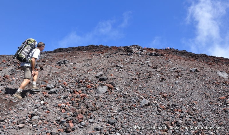 Stewart walking up Mt Ngauruhoe's slopes
