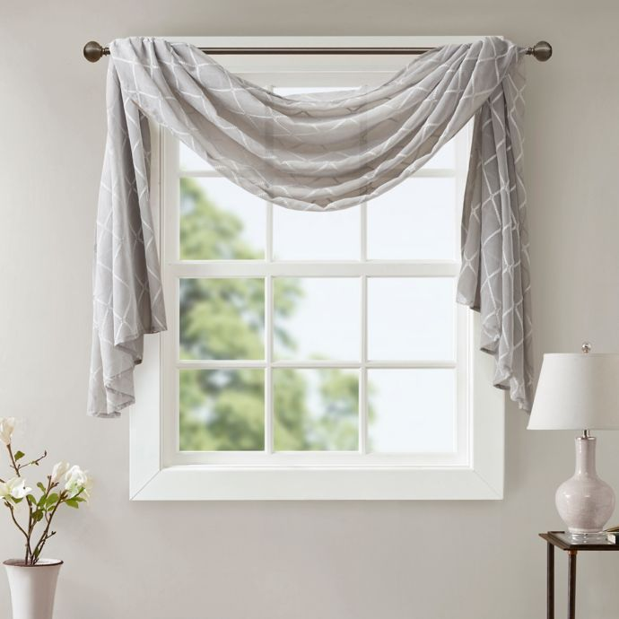 Madison Park Irina Diamond Sheer 144 Inch Window Scarf Valance In