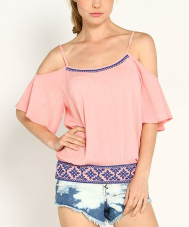 Look what I found on #zulily! Pink & Blue Embroidered Cutout Blouson Top #zulilyfinds