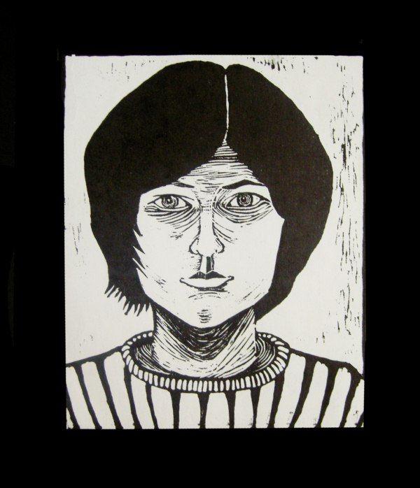 Autoportret (Selfportrait), linocut 2004 #linocut #linoryt #print #printing #druk #drukowanie #uljado