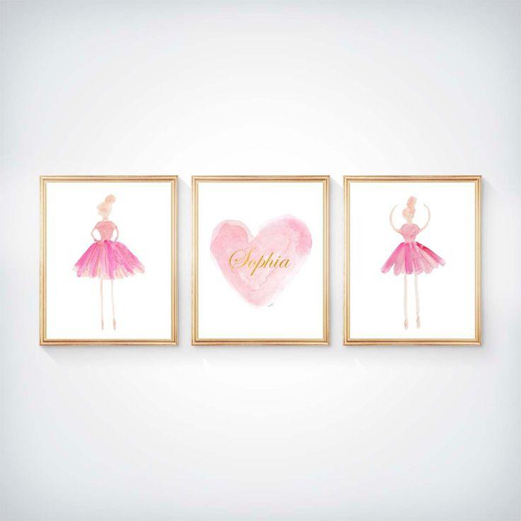 Ballerina Wall Art, Set of 3 - 8x10, Ballerina Art, Girls Ballet, Girls Ballet Print, Ballet Nursery, Ballerina Decor, Ballerina Watercolor, by OutsideInArtStudio on Etsy https://www.etsy.com/listing/255370677/ballerina-wall-art-set-of-3-8x10