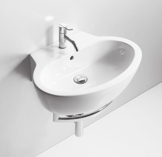 LFT24 | LFT spazio Ceramica Simas Oval counter top or wall hung washbasin 60 pre-punched for single tap hole.