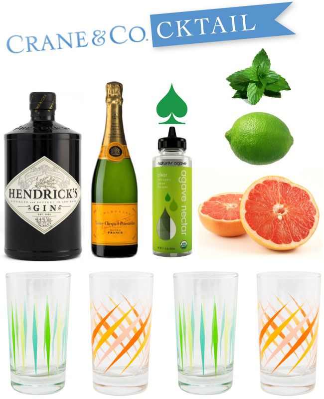 Crane & Co Cocktail with Fishs Eddy Party Glasses  2 oz Gin  Juice + zest of 1 lime  3 oz fresh grapefruit juice  2tbs agavae nectar  champagne float  In a shaker half filled with ice add the gin, lime zest + juice, grapefruit juice + agavae nectar. SHAKE. Pour into prepared highball and top with a champagne float.