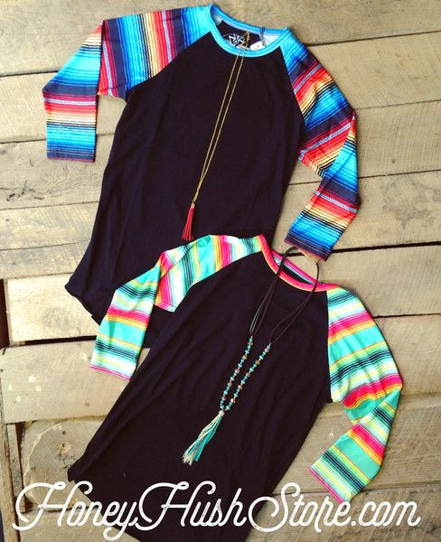 Crazy Train serape sleeve black raglan tee in two different colors!