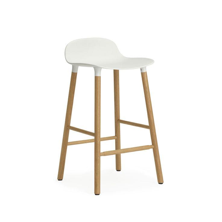 Form barstol - Form barstol - låg, vit, ekben