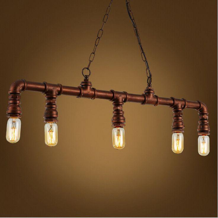 Nordic American Village loft industrial creative personality retro five pipe chandelier lighting Restaurant Bar cafe lamp