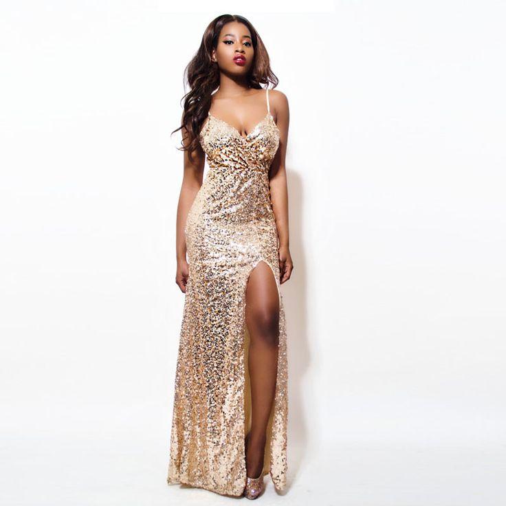 Goedkope Gold Sequin Maxi Jurk Elegante Avond Paillette Gewaad Sexy hoge split Bustier Jurk spaghetti v hals mermaid jurken, koop Kwaliteit jurken rechtstreeks van Leveranciers van China:                    &nbsp