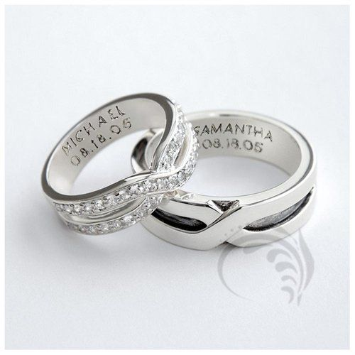 Lovely Attractive k White Gold Polished His and Hers Matching Wedding Rings Ct mm Wide