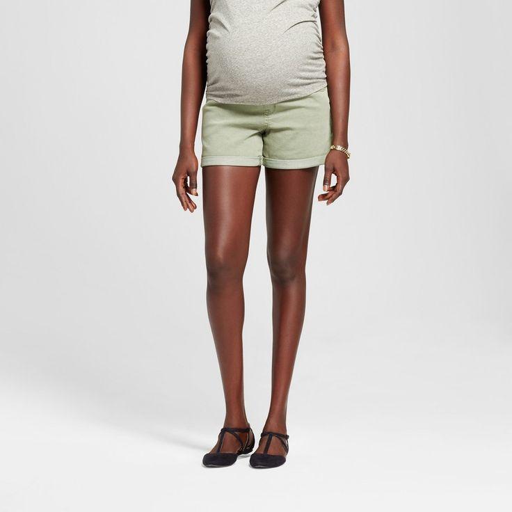 Maternity Over The Belly Jean Shorts Green S - Liz Lange for Target, Women's