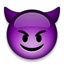 visage souriant avec des cornes