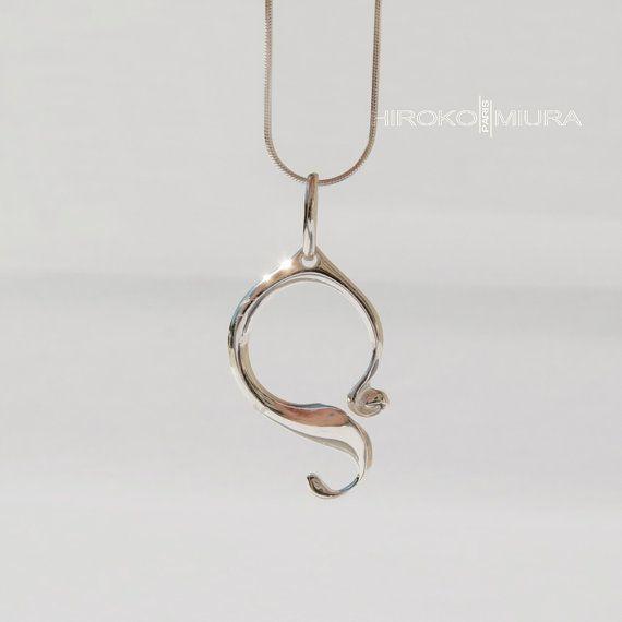 """Pendentif """"EGYPTIEN"""" poli argent - silver Création HIROKO MIURA design, fait main. bijou unique, style épuré."""