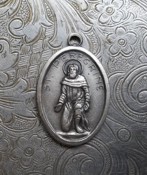 Saint Peregrine Italian Silver Catholic Medal Patron Saint Of Those Suffering From Cancer, Pray For Us With Flower, Cancer Patient