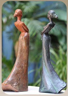 sculpture en résine et en terre cuite
