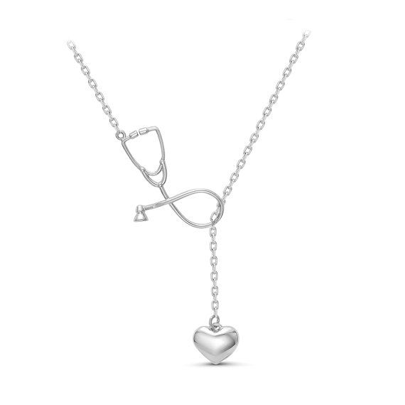 Stethoscope necklace,  Silver Lariat necklace, medical gift, Doctor Gift,  gift for medical student,  Nurse Jewelry