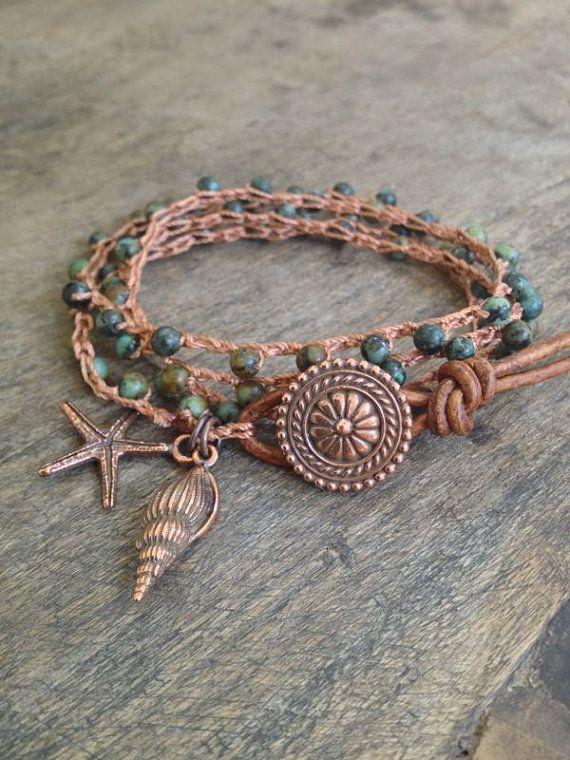 "Ocean Life Crochet & Leather  Multi Wrap Bracelet ""Beach Chic"""