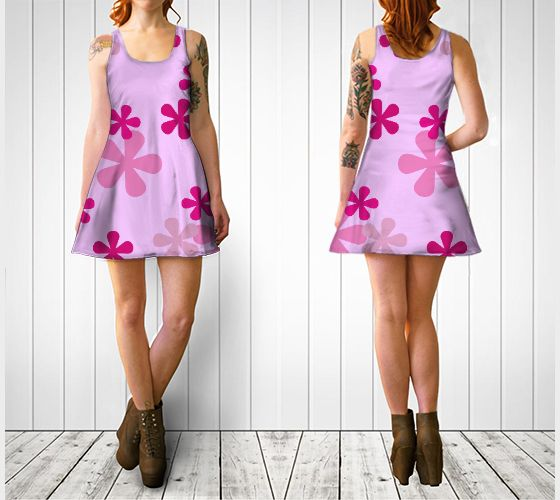 """Flare dress """"Pink Retro Flowers Flare Dress"""" by Cori-Beth's Originals at Art of Where."""