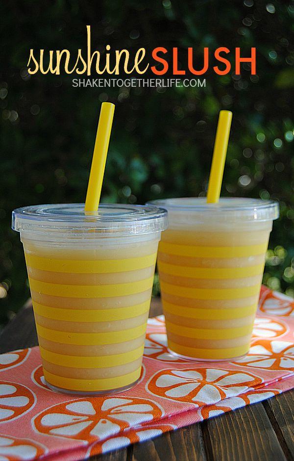 Grab your blender and whiz up a batch of liquid sunshine - Sunshine Slush! Each delicious slush only has 85 calories and tastes like an Orange Julius!