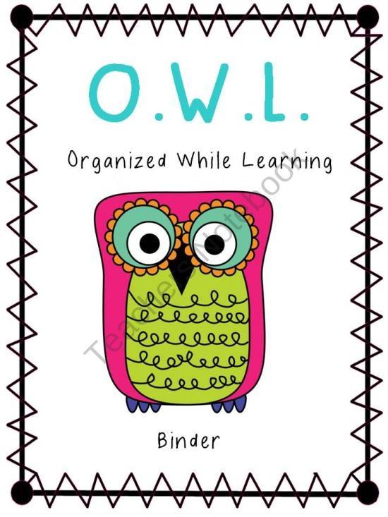 Owl Binder Covers product from MrsThigpensKindergarten on TeachersNotebook.com