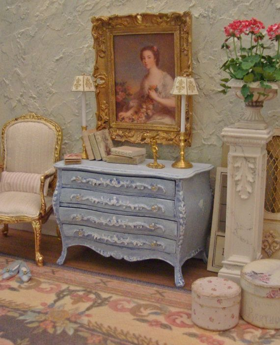 Paris Chic Periwinkle White Washed Commode by WestonMiniature