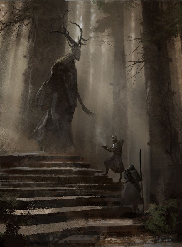 "Symbaroum RPG: ""In a towering grove at the southern edge of Karvosti (the ancient meeting place of the barbarian clans) lives Aloéna. The ten feet tall female being, assumed to be related to Davokar's elves, seems to regard humans as if they were nothing more than a passing flock of birds."" (Image: Järnringen)"