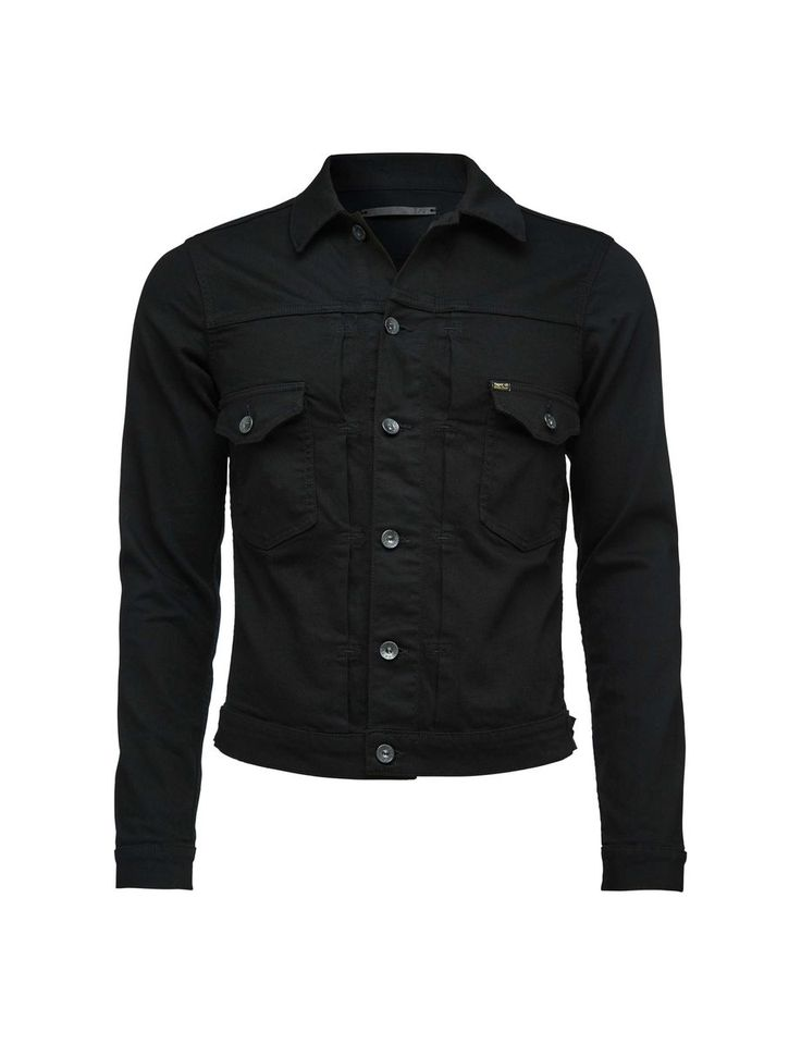 """Gecko jacket-Men's slim fit denim jacket in 12-ounce stretch denim. The wash is called """"Forever"""" and is a rinsed stay black programme. This means that the black won't fade with wash but will still show creasing and wear over time. The jacket has front button fastening, chest pockets and adjustable side straps. Hip length."""