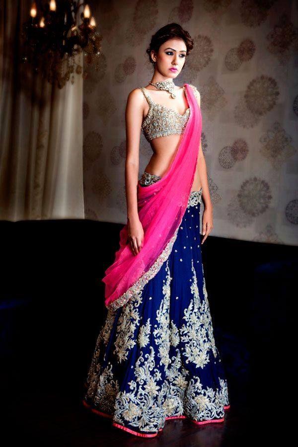 pink blue lehenga saree wedding bridal indian