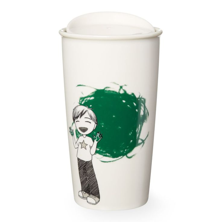 A double-walled ceramic mug featuring a boy who has fingerpainted a green dot, part of the Dot Collection.
