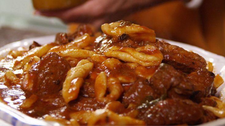 Handmade pasta with meat sauce (cavatelli lunghi alla molisana)-Made In Italy with Silvia Colloca