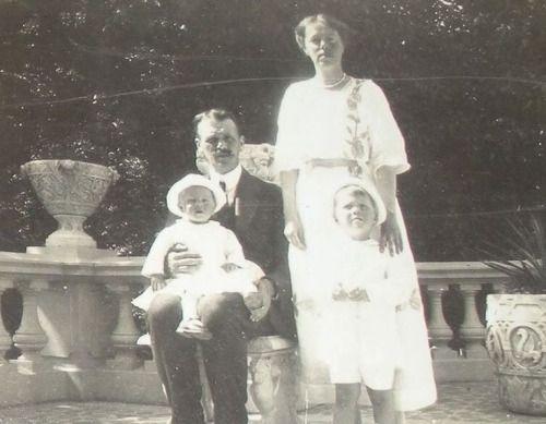 Grand Duchess Olga Alexandrovna with her husband, Nikolai Alexandrovich Kulikovsky and their two children.