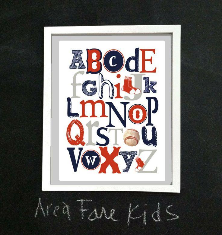 8 X 10 Boston RED SOX ABC Nursery Art Print. $15.00, via Etsy.