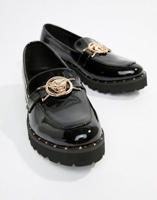 82070751ee Glamorous | Glamorous black chunky flat shoes with gold lion trim