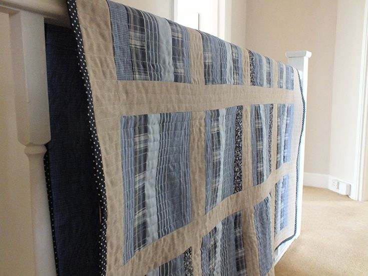 Patchwork quilt made from mens shirts   The Nice Nest