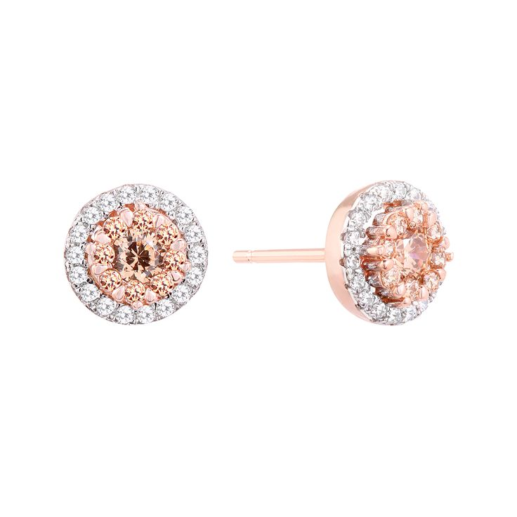 A stunning pair of Sterling Silver earrings finished with AAA Grade Cubic Zirconias and Rose Gold plating.