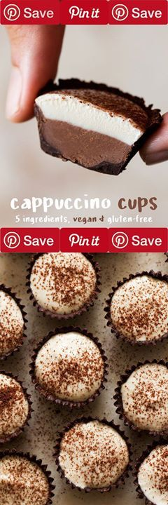 Cappuccino vegan cups 10 mins to cook makes 24 IngredientsCanned Goods6 tbsp Coconut creamCondiments3 tbsp Maple syrupBaking & Spices1 tbsp Dutch cocoa powder or chocolate shavings3 drops Vanilla essenceNuts & Seeds1 cup CashewsDrinks3 tsp Instant coffeeOther250 g Dark (70%) chocolate divided