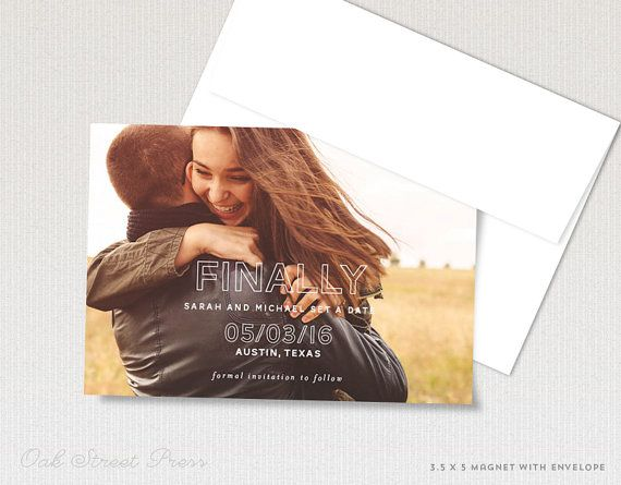 Wedding save-the-date magnets are a fun and functional way to announce your wedding. Add your engagement photo to create a lasting impression for your wedding guests with a save the date magnet.