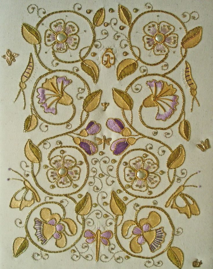 Elizabethan Trellis ~ gold embroidery by Kathleen Laurel Sage