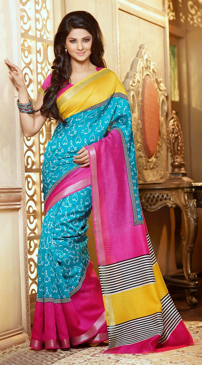Jennifer Winget Sky Blue Printed Saree HY1094423