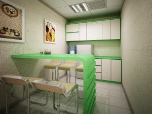 Desain pantry dengan warna terang memberikan kesan bersih dan segar di kantor anda.