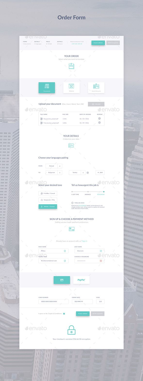 Order Form - #Forms #Web #Elements Download here:  https://graphicriver.net/item/order-form/18406376?ref=alena994
