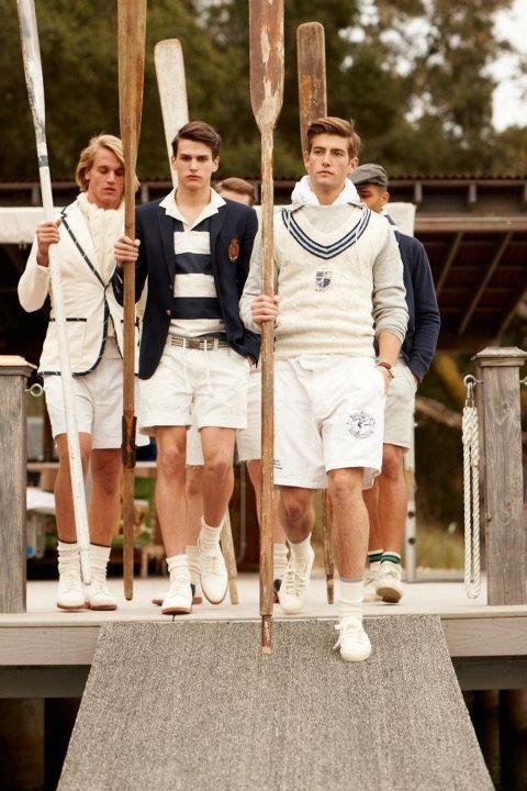 New England - men's white with navy nautical fashion